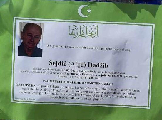 Preminuo je Hadžib Sejdić