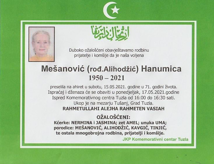 Preminula je Hanumica Mešanović