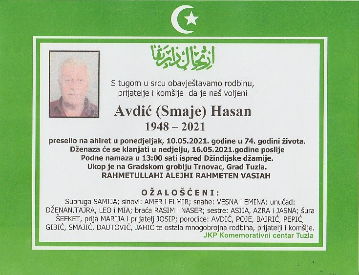 Preminuo je Hasan Avdić