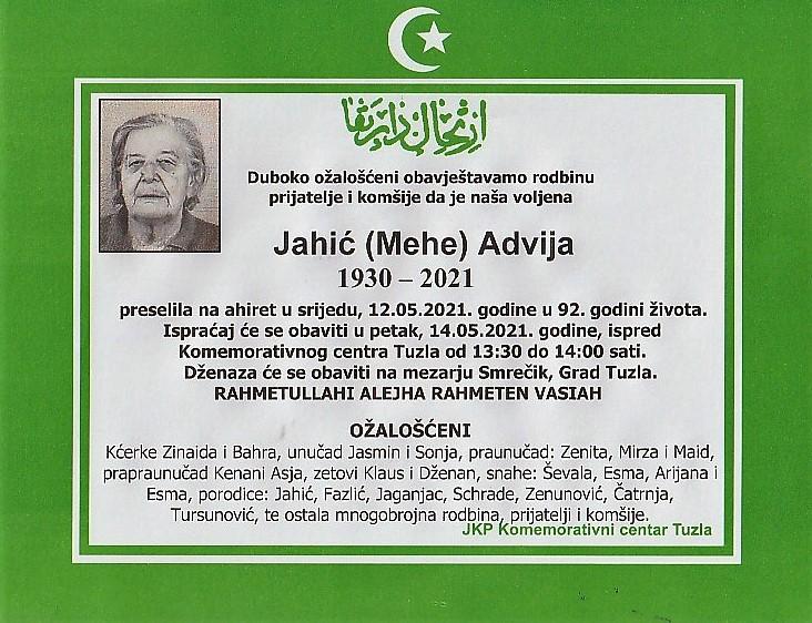 Preminula je Advija Jahić