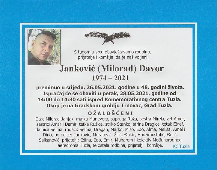 Preminuo je Davor Janković