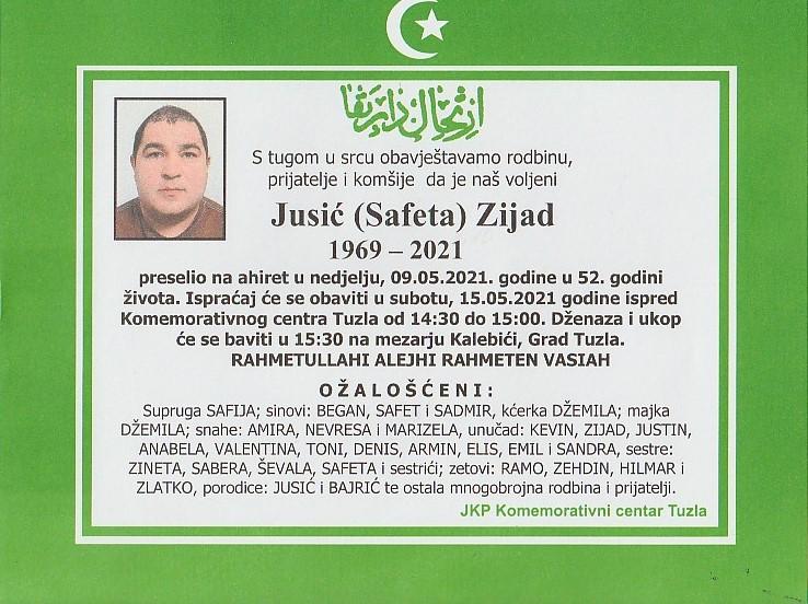 Preminuo je Zijad Jusić