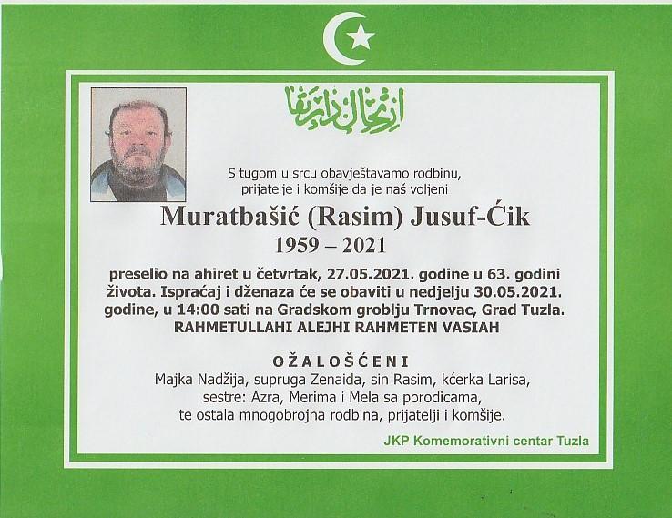 Preminuo je Jusuf-Ćik Muratbašić