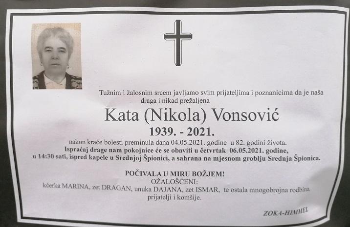 Preminula je Kata Vonsović