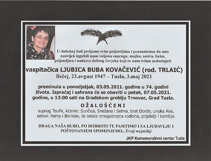 Preminula je Ljubica Buba Kovačević