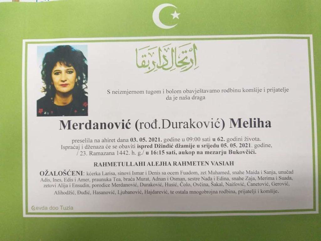 Preminula je Meliha Merdanović