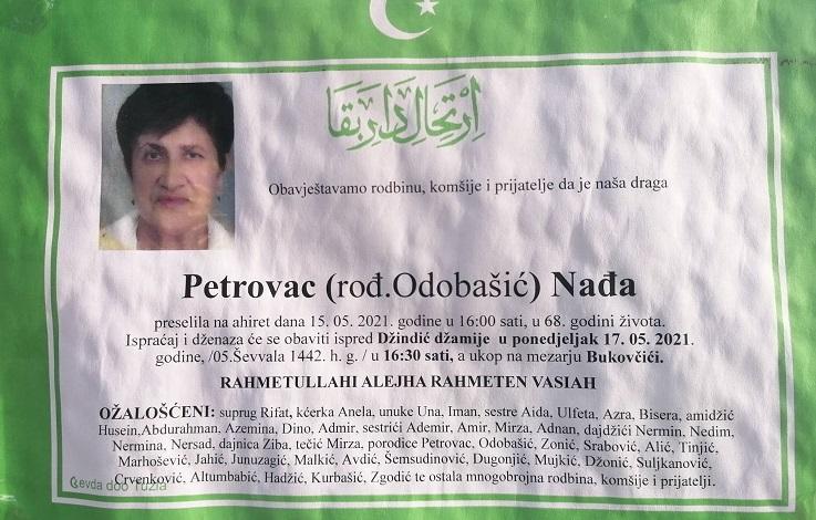 Preminula je Nađa Petrovac