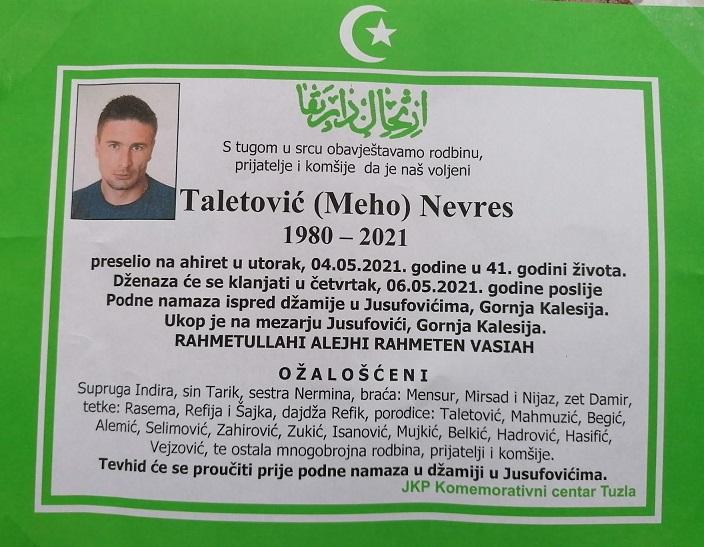 Preminuo je Nevres Taletović
