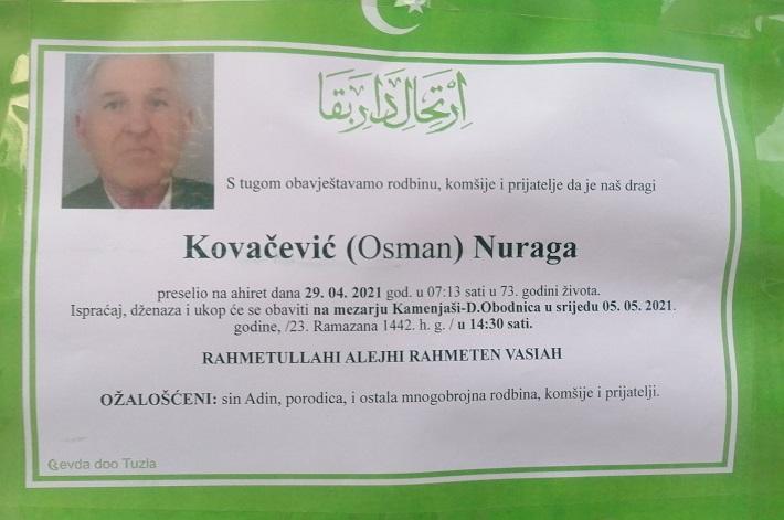 Preminuo je Nuraga Kovačević