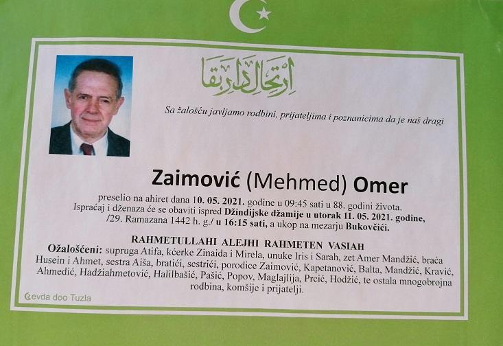 Preminuo je Omer Zaimović