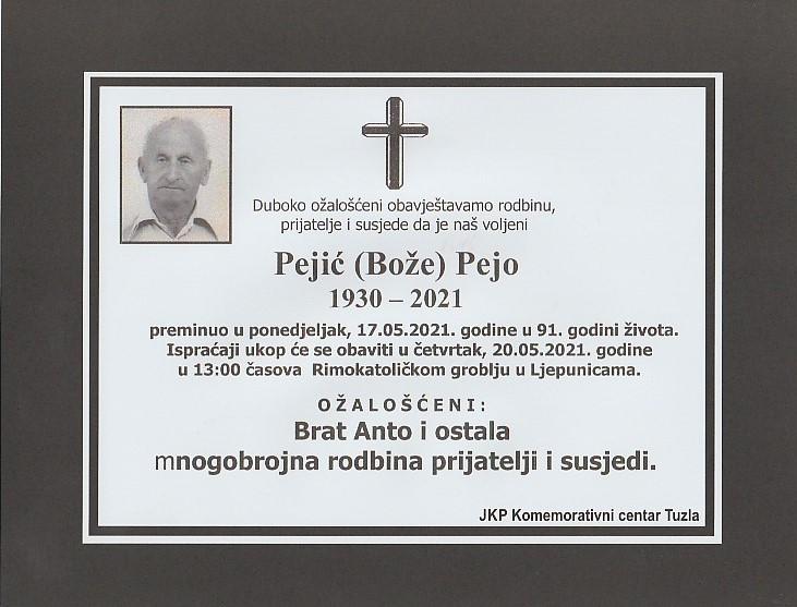 Preminuo je Pejo Pejić