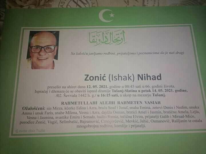 Preminuo je Nihad Zonić