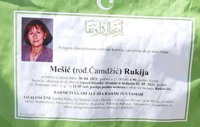 Preminula je Rukija Mešić