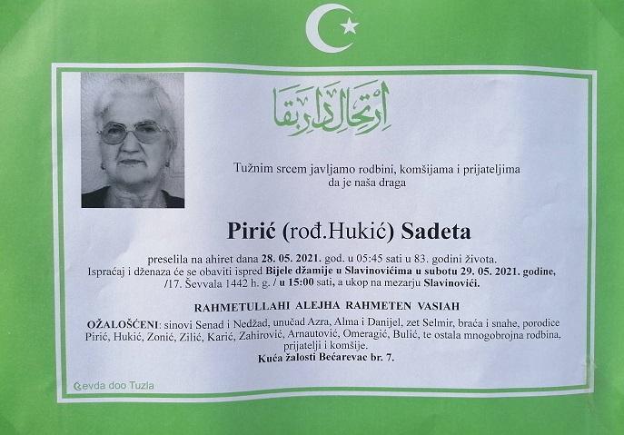 Preminula je Sadeta Pirić