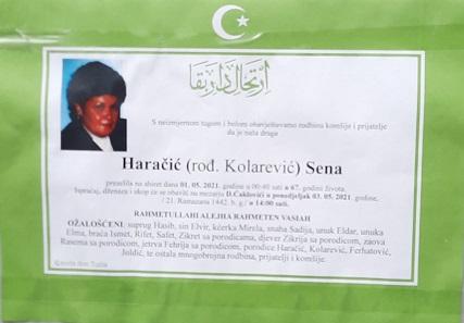 Preminula je Sena Haračić