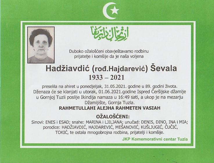 Preminula je Ševala Hadžiavdić