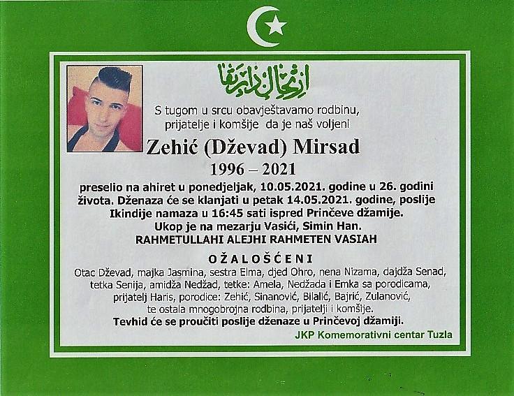 Preminuo je Mirsad Zehić