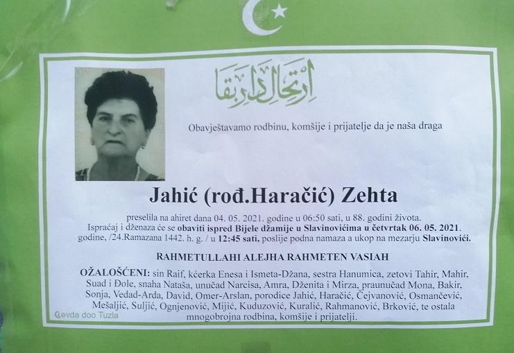 Preminula je Zehta Jahić