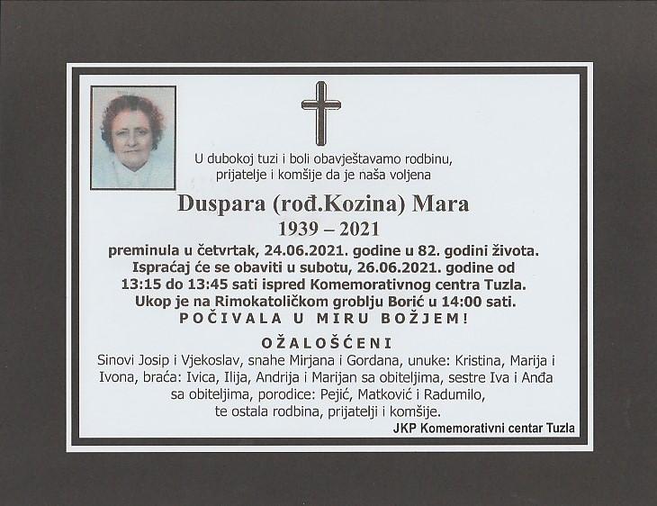 Preminula je Mara Duspara