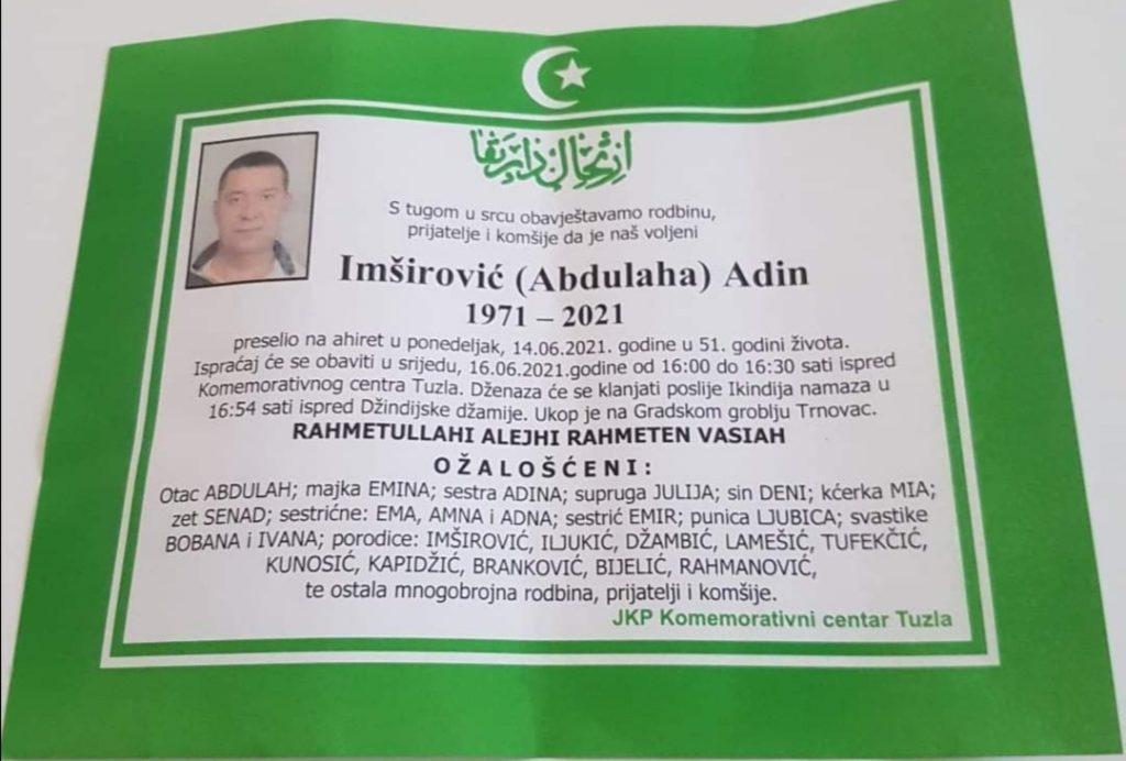 Preminuo je Adin Imširović