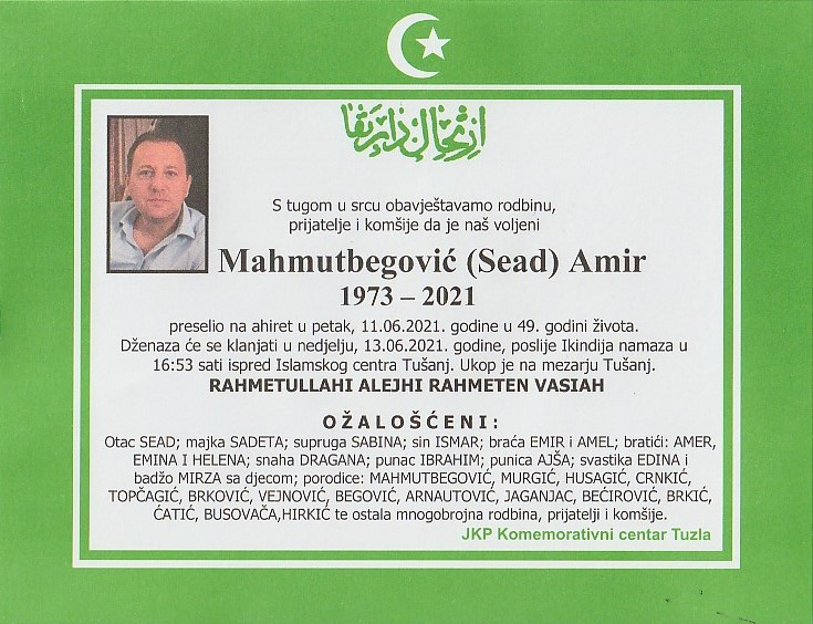 Preminuo je Amir Mahmutbegović