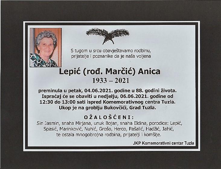 Preminula je Anica Lepić