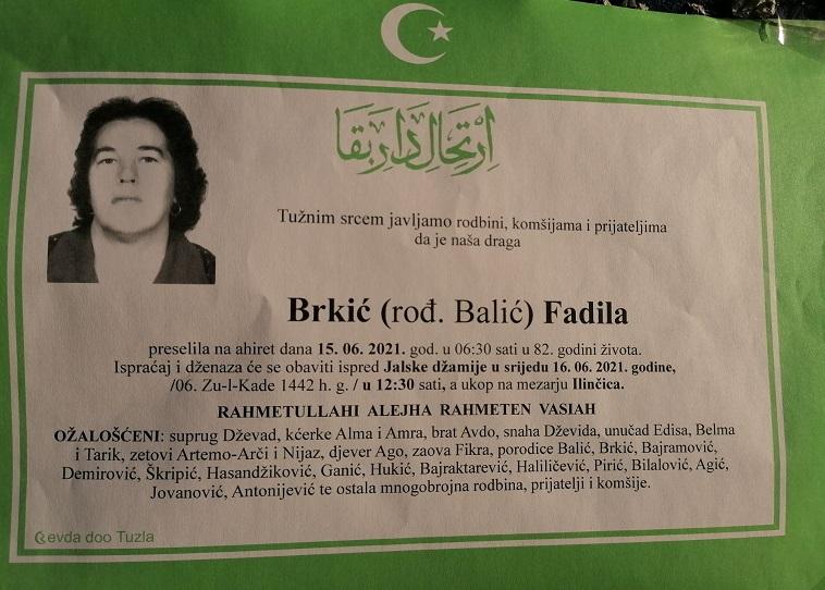 Preminula je Fadila Brkić