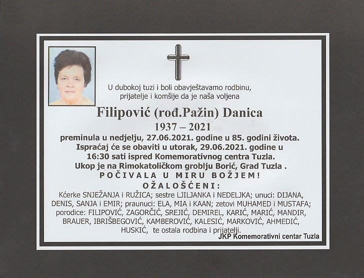 Preminula je Danica Filipović