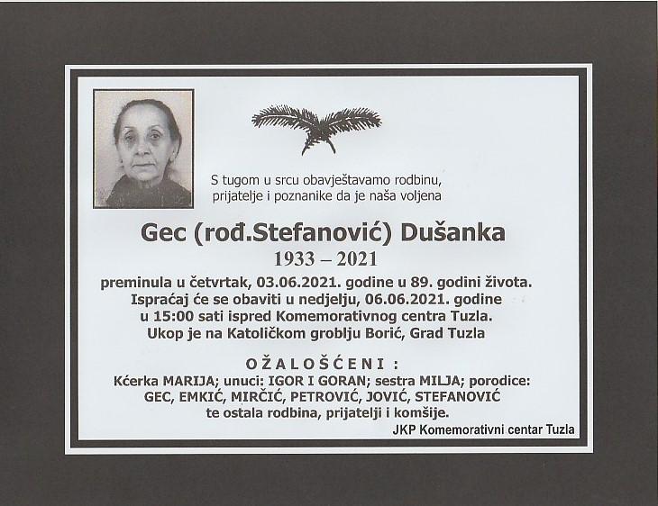 Preminula je Dušanka Gec
