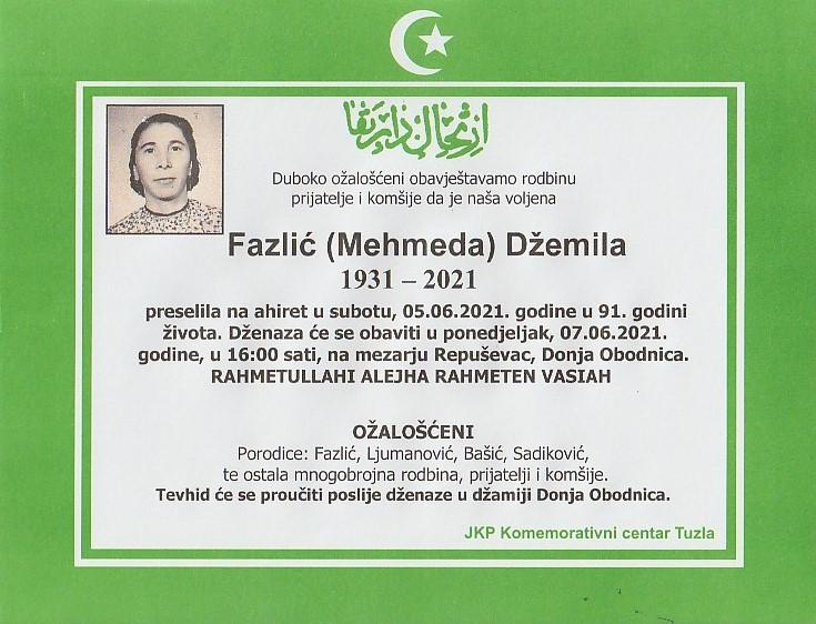 Preminula je Džemila Fazlić
