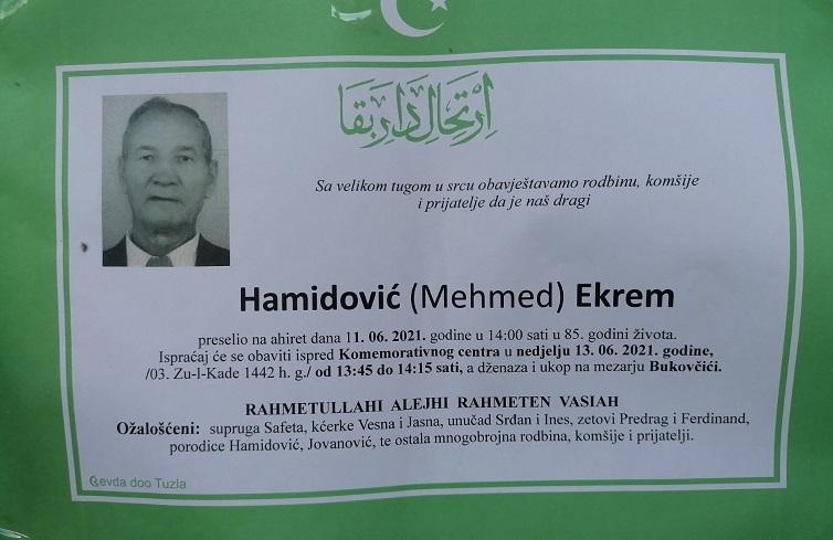 Preminuo je Ekrem Hamidović