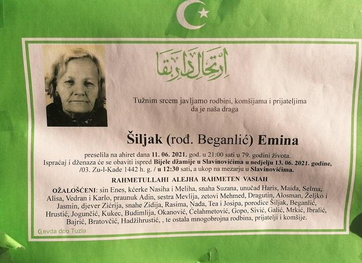 Preminula je Emina Šiljak