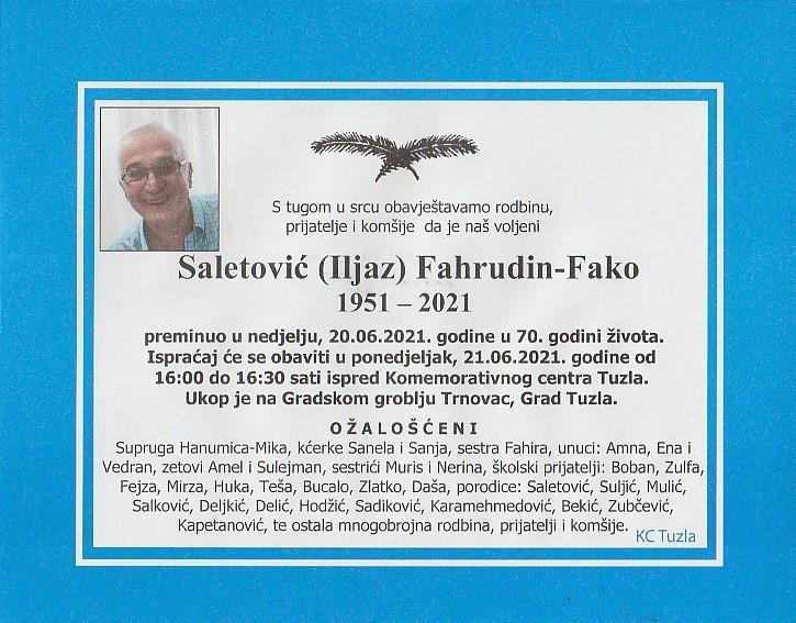Preminuo je Fahrudin Fako Saletović