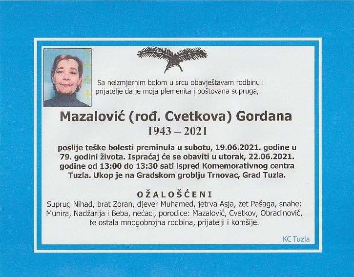 Preminula je Gordana Mazalović