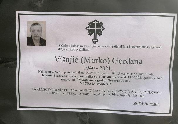 Preminula je Gordana Višnjić