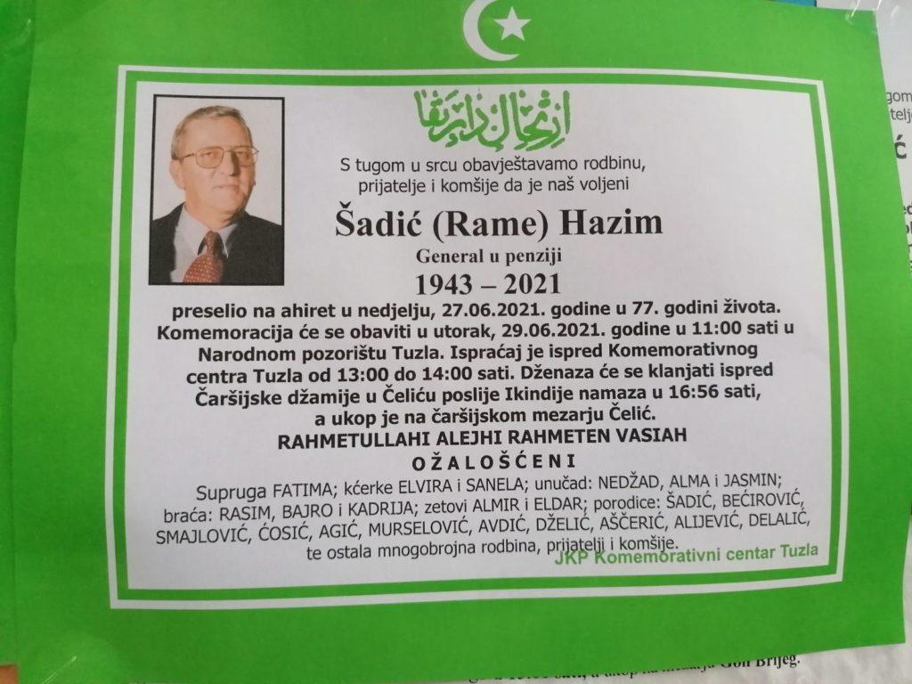 Preminuo je general Hazim Šadić