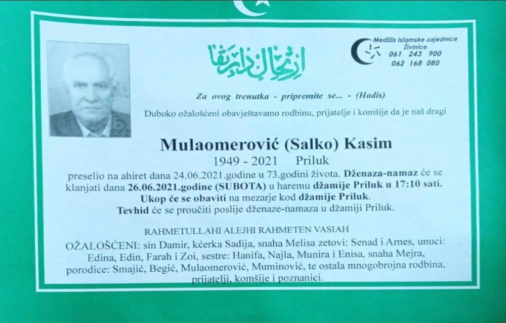 Preminuo je Kasim Mulaomerović