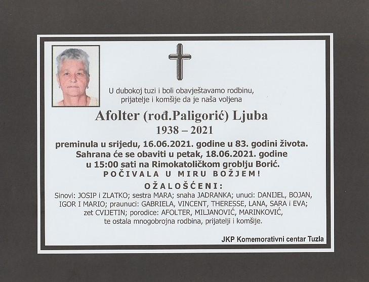 Preminula je Ljuba Afolter