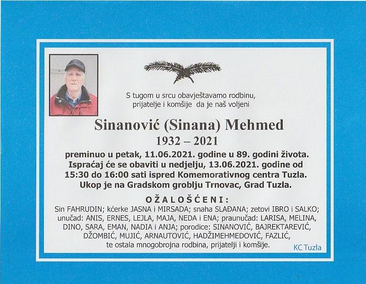 Preminuo je Mehmed Sinanović