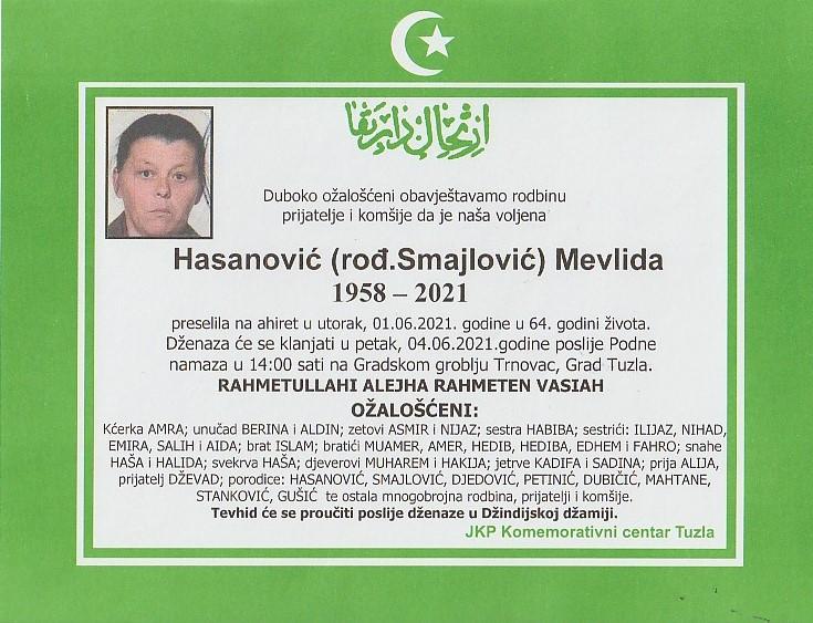 Preminula je Mevlida Hasanović