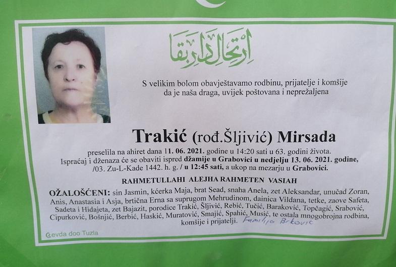 Preminula je Mirsada Trakić