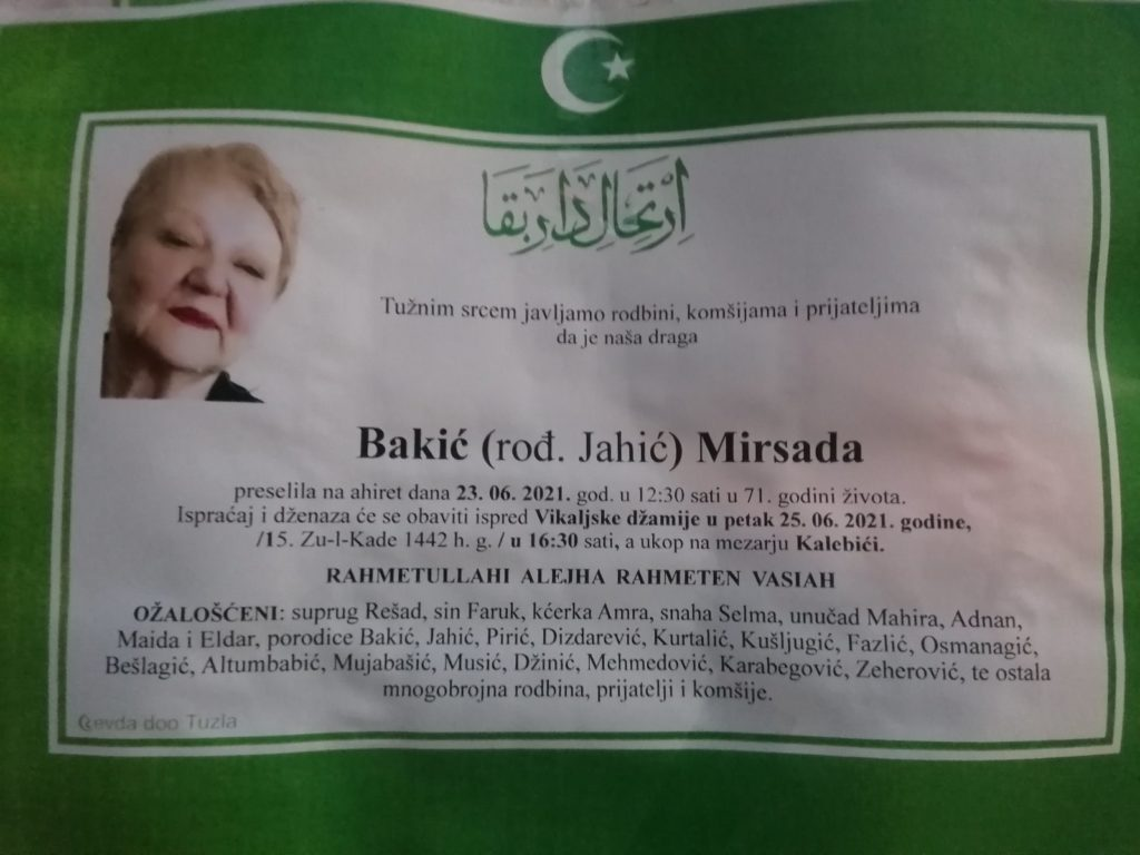 Preminula je Mirsada Bakić