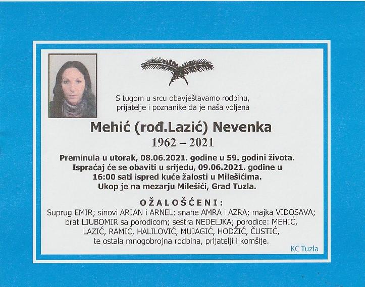 Preminula je Nevenka Mehić