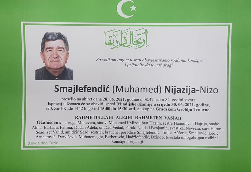 Preminuo je Nijazija Nizo Smajilefendić