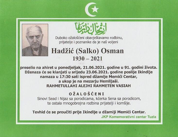 Preminuo je Osman Hadžić