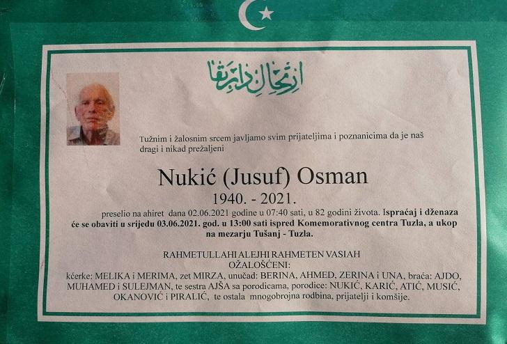 Preminuo je Osman Nukić