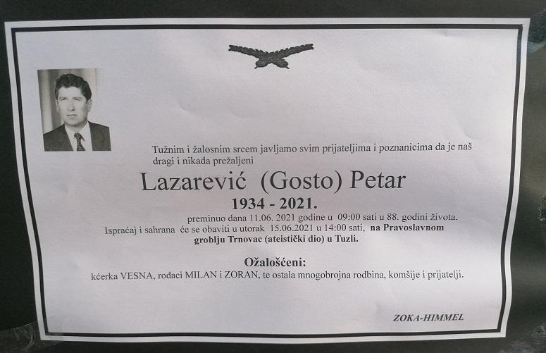 Preminuo je Petar Lazarević