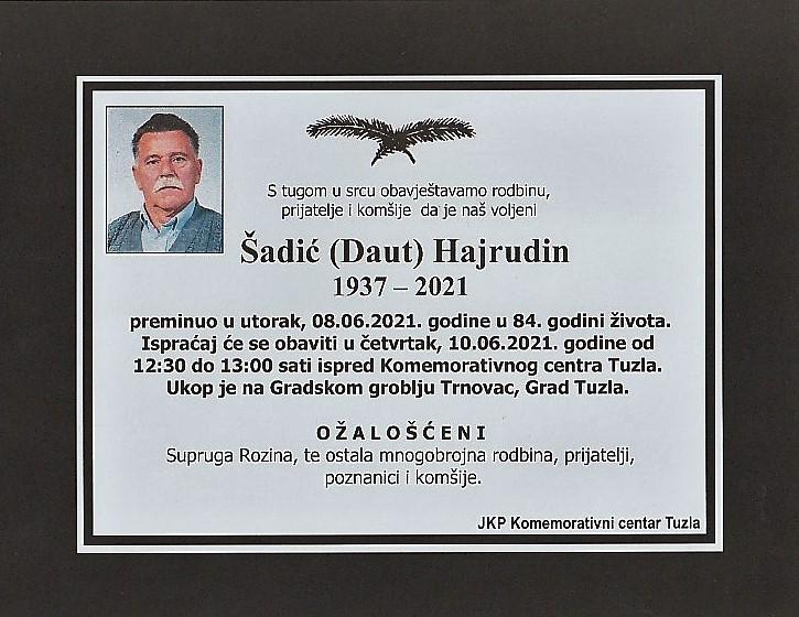 Preminuo je Hajrudin Šadić