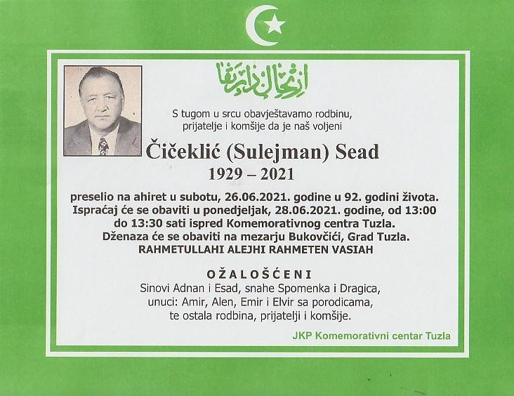 Preminuo je Sead Čičeklić