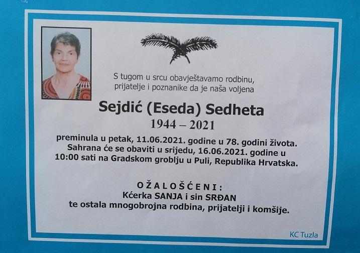 Preminula je Sehdeta Sejdić